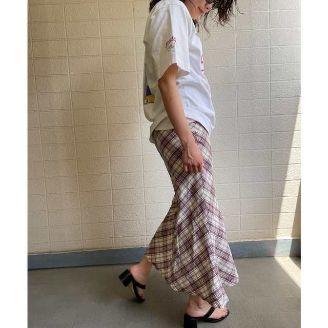 mermaid check long skirt