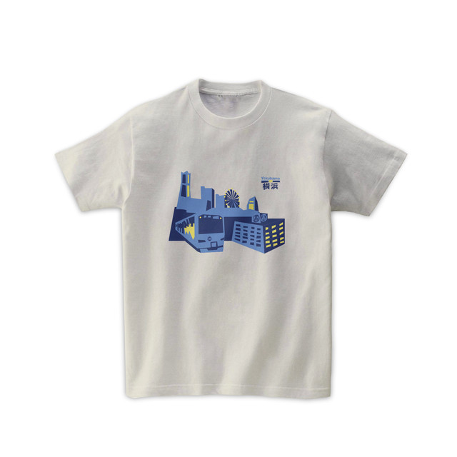電車Tシャツ-みなとみらい線と横浜の景色(シルバーグレー)