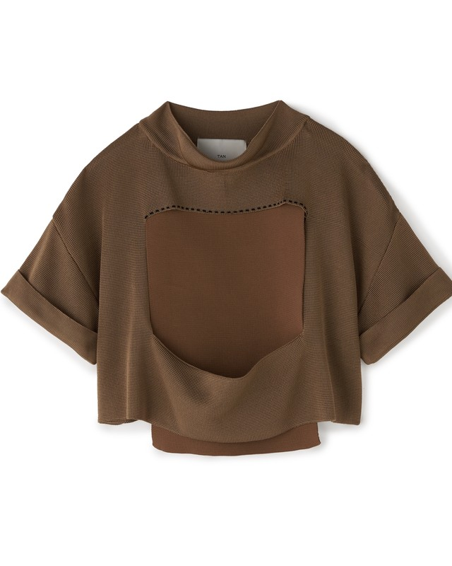 CLING FILM CROPPRD TEE[BROWN]