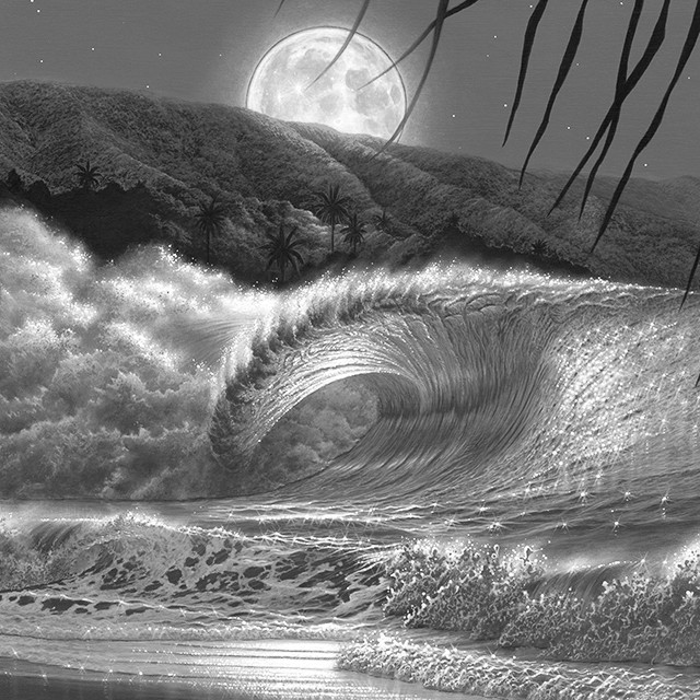 「Perfect Big Wave Under The Moonlight」白黒