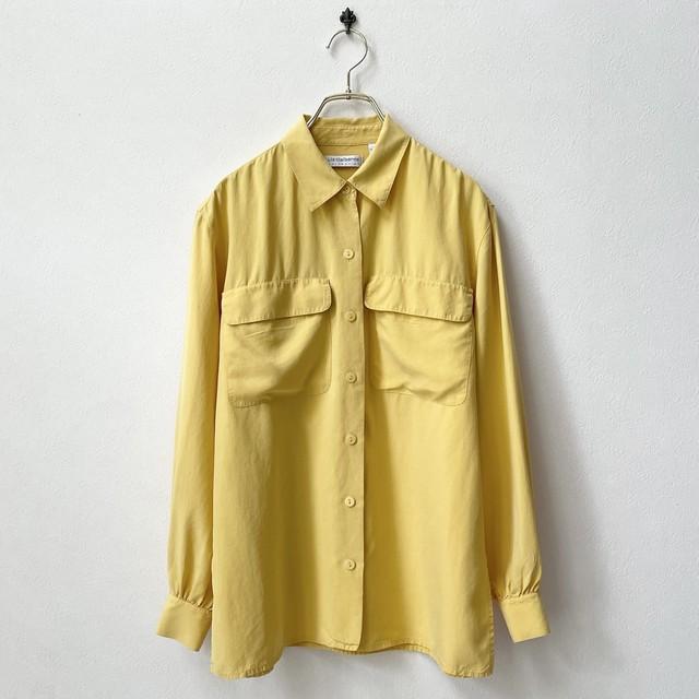 Liz claiborne リズクレイボン フラップポケット シルクシャツ アメリカ古着 日本M〜L