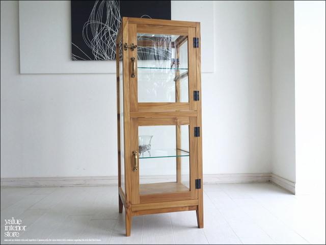 ガラスパンケースN 陳列ケ-ス ショーケース 飾り棚 什器 コレクションケース 木製 チーク材 食器棚 展示ケース