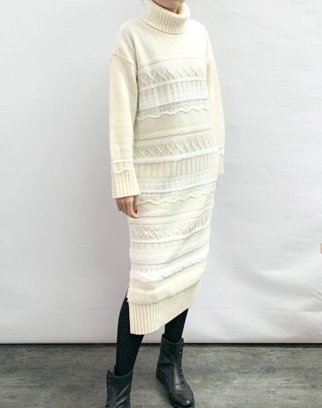 【COOHEM  WOMEN】SOLID TWEEDY KNIT ONE-PIECE:ホワイト