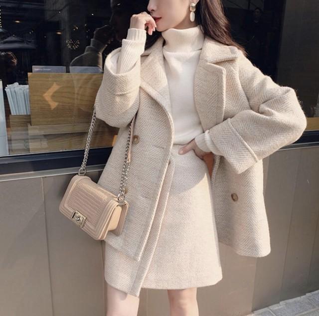 【冬物セール40%OFF】即日発送 ジャケット コート アウター ×スカート シンプル 上品 2set ワンカラー C0099