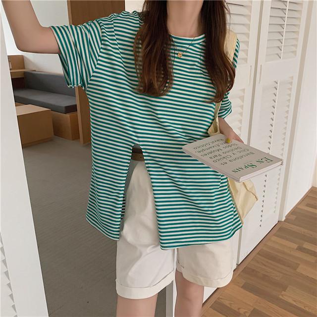 【トップス】カジュアルストライプ柄ラウンドネックスリットTシャツ43754510