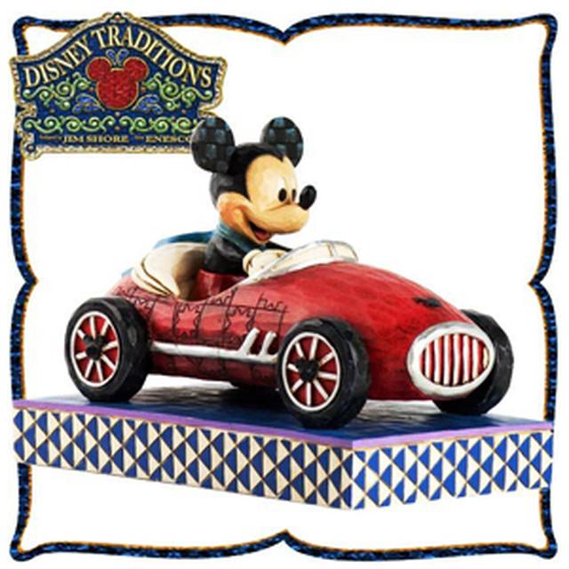 """エネスコ 木彫り調フィギュア ロードスター ミッキーマウス """"Roadster Mickey"""" ディズニー・トラディション"""