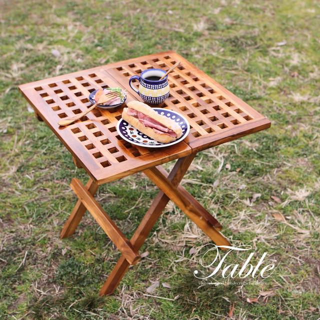 ●送料無料●持ち運べる折りたたみ四角テーブル cc02 インテリア家具 (無垢チーク材、ピクニックテーブル、机)
