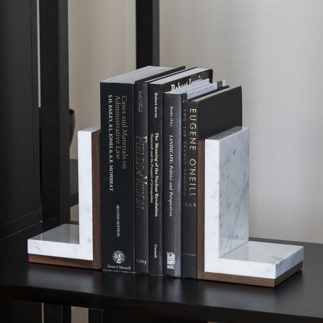 ブックエンド・ブックスタンド|イタリア産天然大理石 ホワイト 1本|ブックエンド