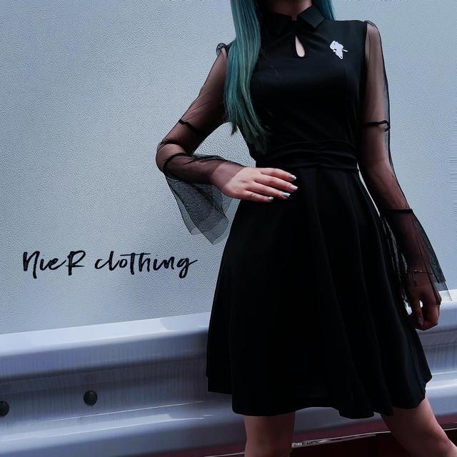 SEE-THROUGH袖 BLACK DRESS