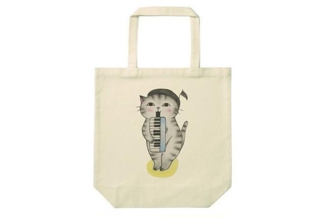 ピアニカ猫のトートバッグ