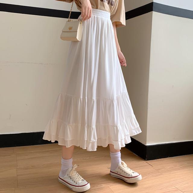 【ボトムス】無地 ギャザー飾り スカート42943107
