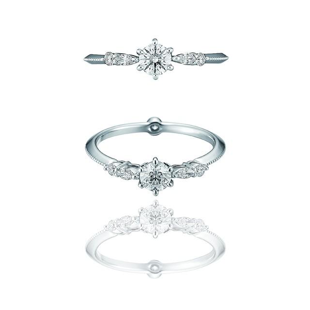 Classic Diamond Ring / Pt900 3EX H&C