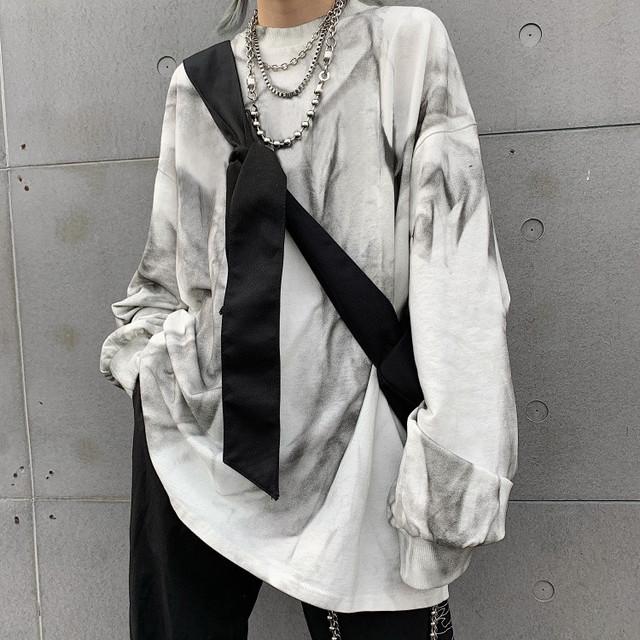ユニセックス タイダイ染め Tシャツ 長袖 オーバーサイズ 韓国ファッション メンズ レディース ロンT ルーズ カジュアル ストリートファッション / High Street Tie-dye Gradient Top Loose T-shirt (DTC-602094054655)