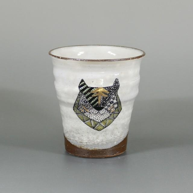 【九谷焼 北村和義】線描色絵金彩フリーカップ トラ K-1-3