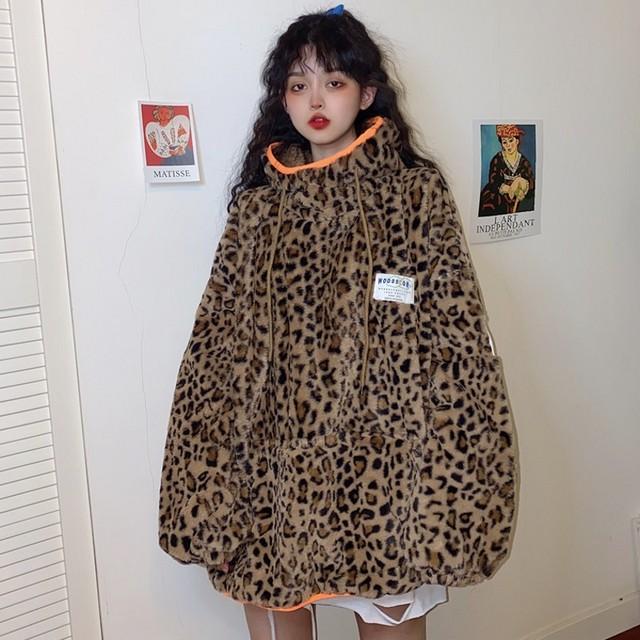 【トップス】韓国系長袖フード付きプルオーバーヒョウ柄パーカー24069000
