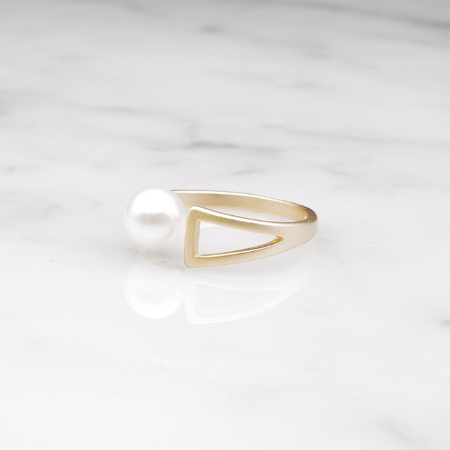 S925 SINGLE PEARL OPEN RING GOLD