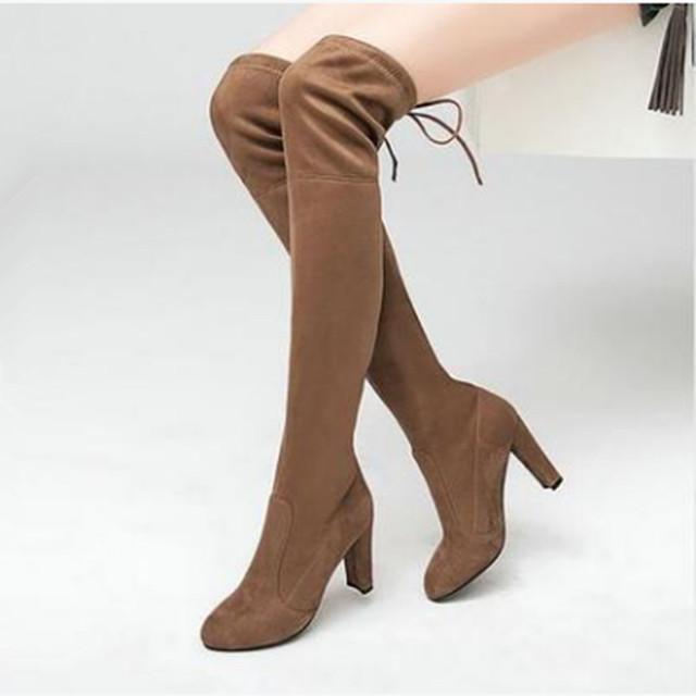 【シューズ】高級感ファッションポインテッドトゥ人気合わせやすいハイヒールロング丈ブーツ37978484
