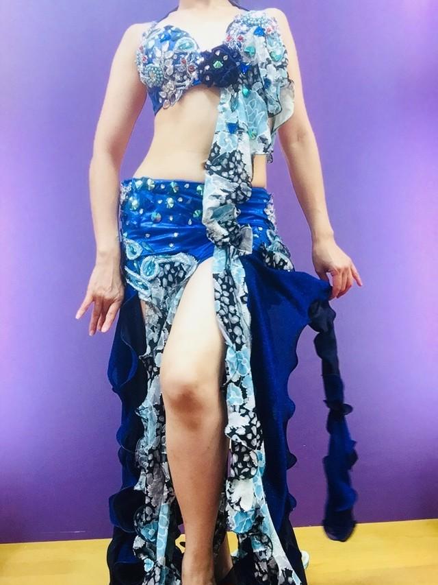 ベリーダンス衣装 ホワイト&ブルー