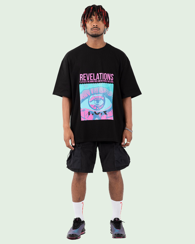 OVERSIZED REVELATIONS 3D TEE BLACK
