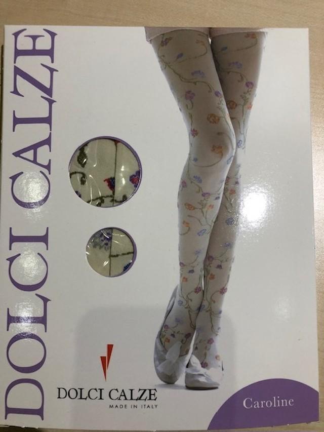 DolciCalze(ドルチカルゼ)イタリア製 05-1042 ジャガード編みマルチ花柄タイツ