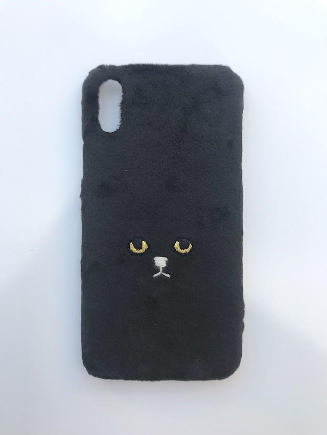 【iPhoneX/Xs専用】ネコiPhoneケース【ブラック】