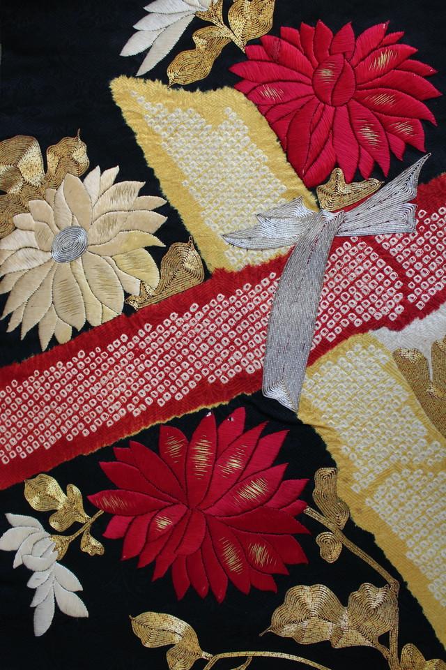 黒地菊と竹 染めに刺繍 名古屋帯