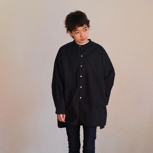 ◎ご予約商品【男女兼用】スタンドカラー タイプライターシャツ / AF05_002_ピュアブラック