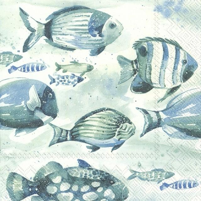 【IHR】バラ売り2枚 ランチサイズ ペーパーナプキン AQUAWORLD FISH シーブルー