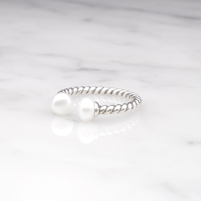 S925 DOUBLE MINI PEARL OPEN RING