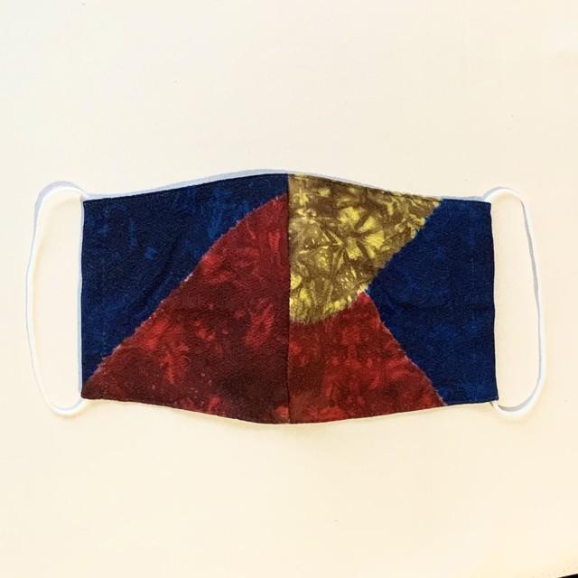 絹マスク 抽象模様 青色・赤色