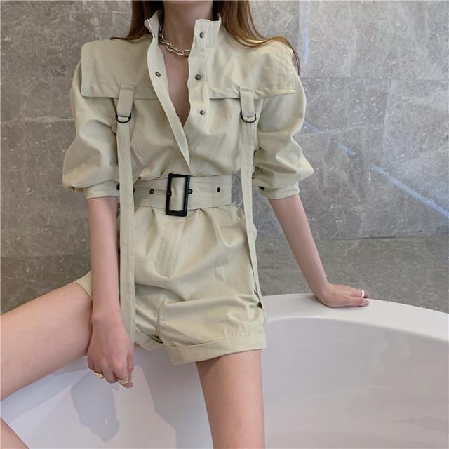 【セット】ファッション半袖シングルブレストスタンドネックジャンプスーツ42933434