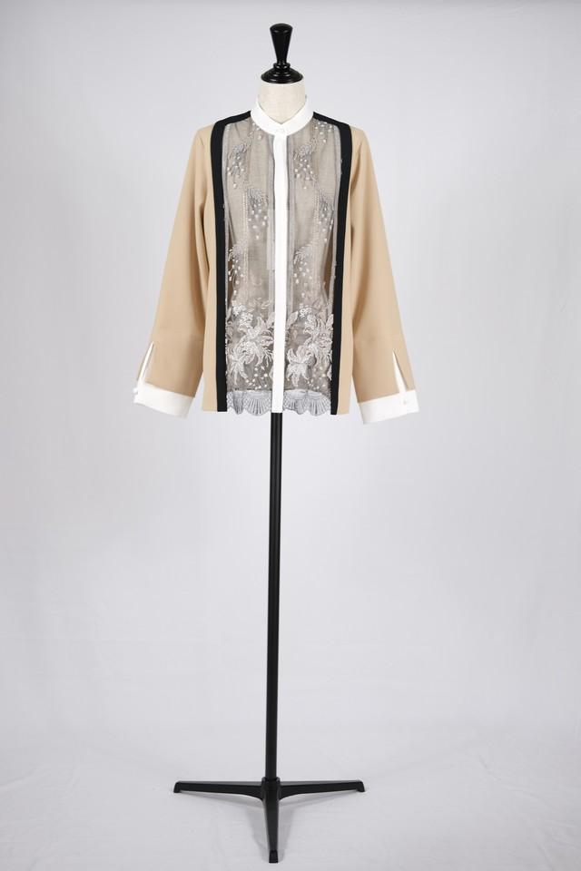 【MURRAL】framed flower blouse - beige