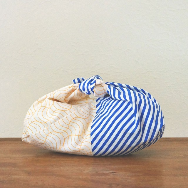 リバーシブル あずま袋 青縞+オレンジの波(小)
