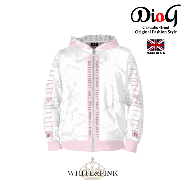 DioG SERIES ORIGINAL DESIGN カジュアルジップパーカー (WHITE&PINK)(MADE IN UK)
