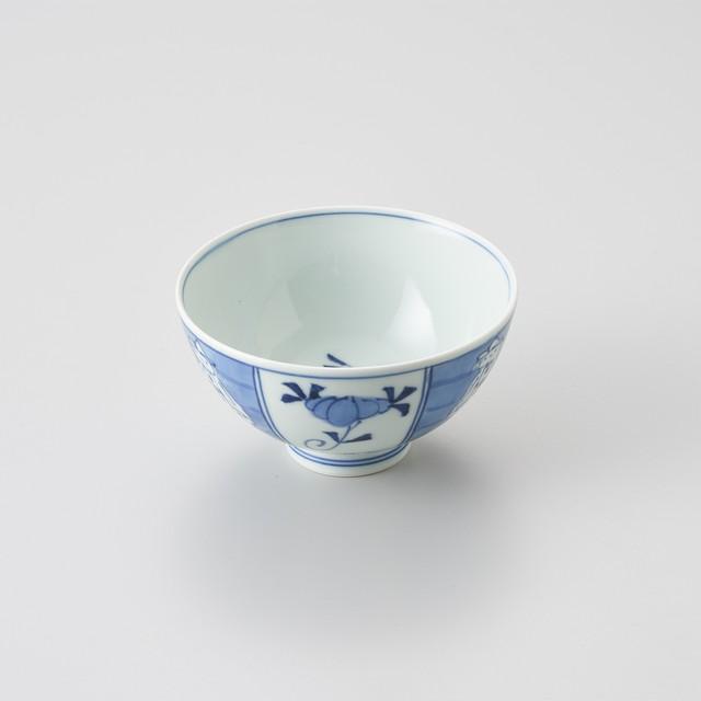 【青花】割マント異人 3.5寸丸飯碗