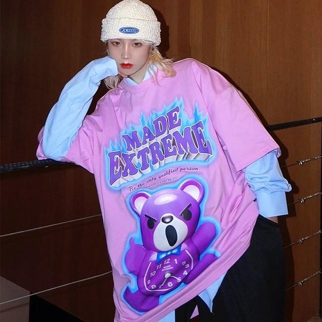 【トップス】男女兼用半袖個性的クマプリントストリート系Tシャツ48957264