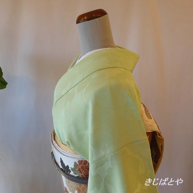 洗える着物 白地にカラフルな麻の葉模様の小紋 袷