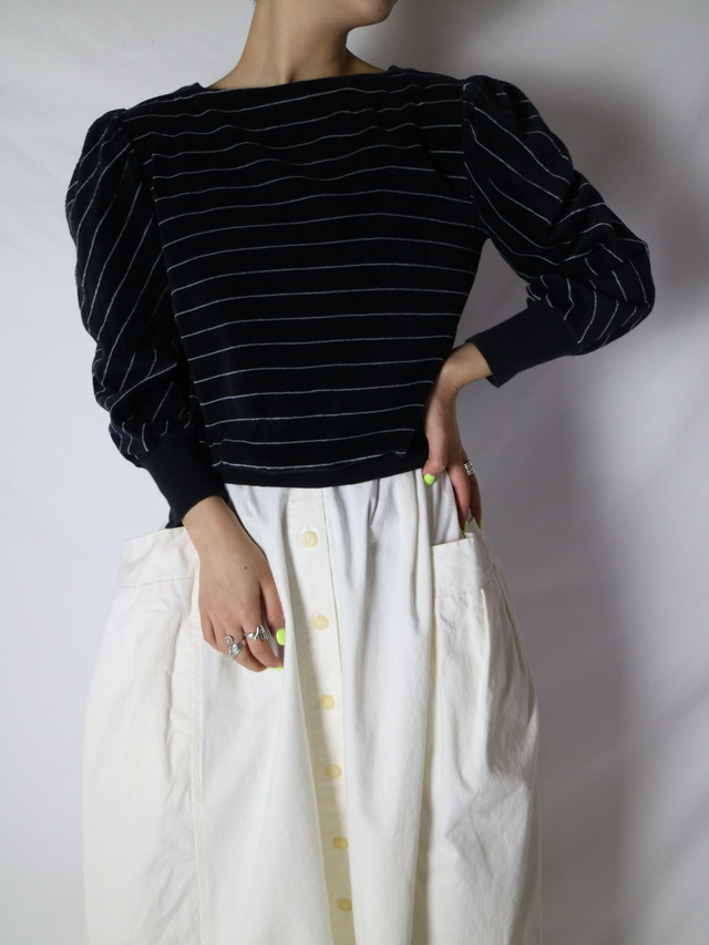 velours puff sleeve tops 【0803】