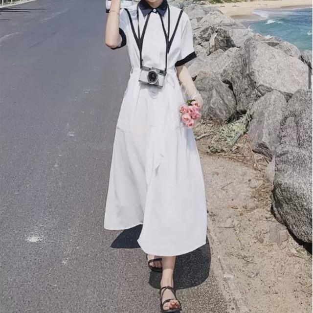 【5/12まで30%OFF!!】襟 デザイン 無地 ロング ワンピース 2色B7303