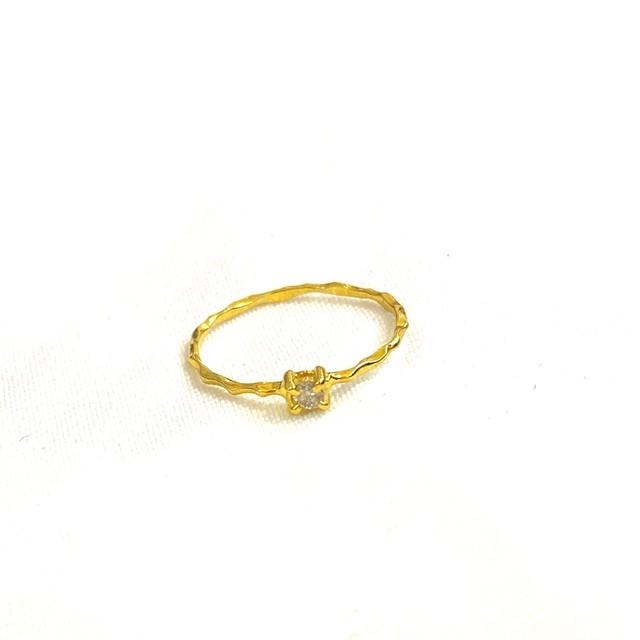 ●pinky ring● ダイヤモンド ピンキーリング シンプル 宝石質 重ねづけ オーダー可能 3号 5号 7号