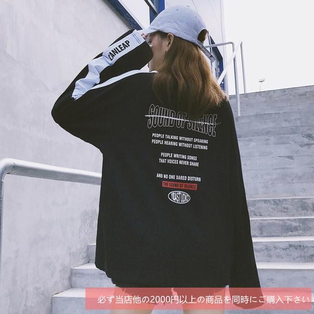 【トップス】配色ストリート系エイジング加工ラウンドネック23305759