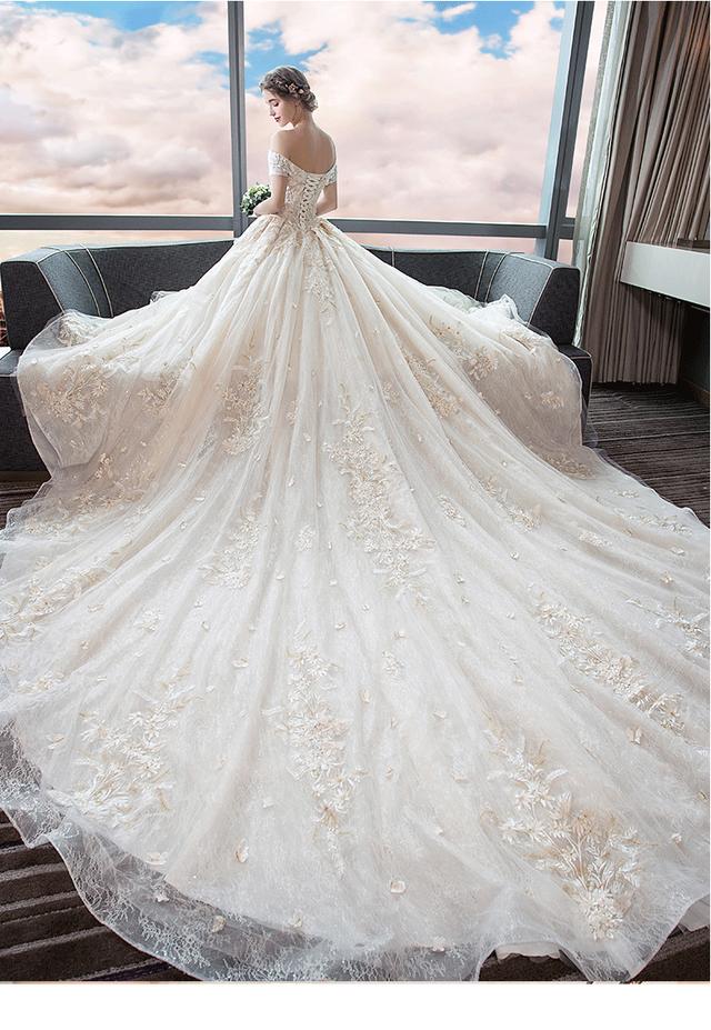 ladies wedding dress pink white long A-line happy ceremony 海外 ウエディングドレス ピンクホワイト かわいい Aライン 肩あき