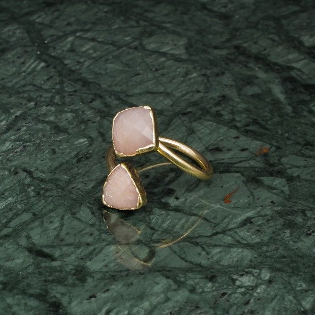 DOUBLE STONE OPEN RING GOLD 036