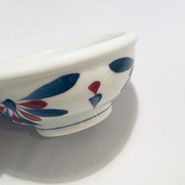 【砥部焼/梅山窯】5寸玉縁鉢(赤菊)