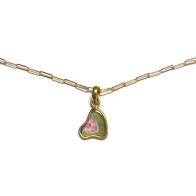 """ウォーターメロントルマリン """"sliced"""" necklace"""