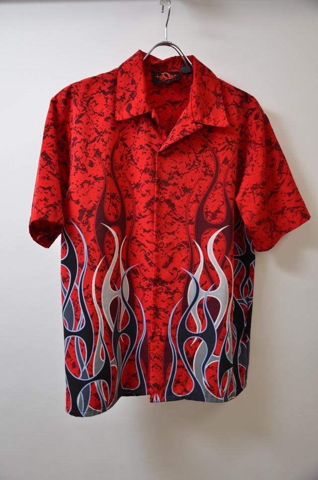 【Mサイズ】 Dragonfly Clothing Company ドラゴン フライ クロージング カンパニー FIRE PATEERN CHICANO SS SHIRTS チカーノシャツ RED レッド 400602190632