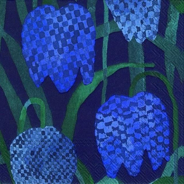 【marimekko】バラ売り2枚 カクテルサイズ ペーパーナプキン GERDA ブルー