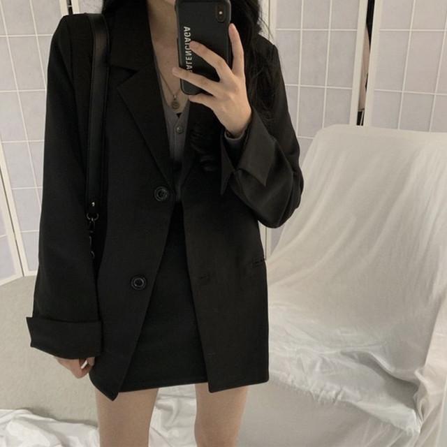 セットアップ テーラードジャケット + ミニスカート 韓国ファッション レディース シングルブレスト タイトスカート ハイウエスト レトロ ガーリー / Black loose jacket bag hip skirt two piece (DTC-602752634508)