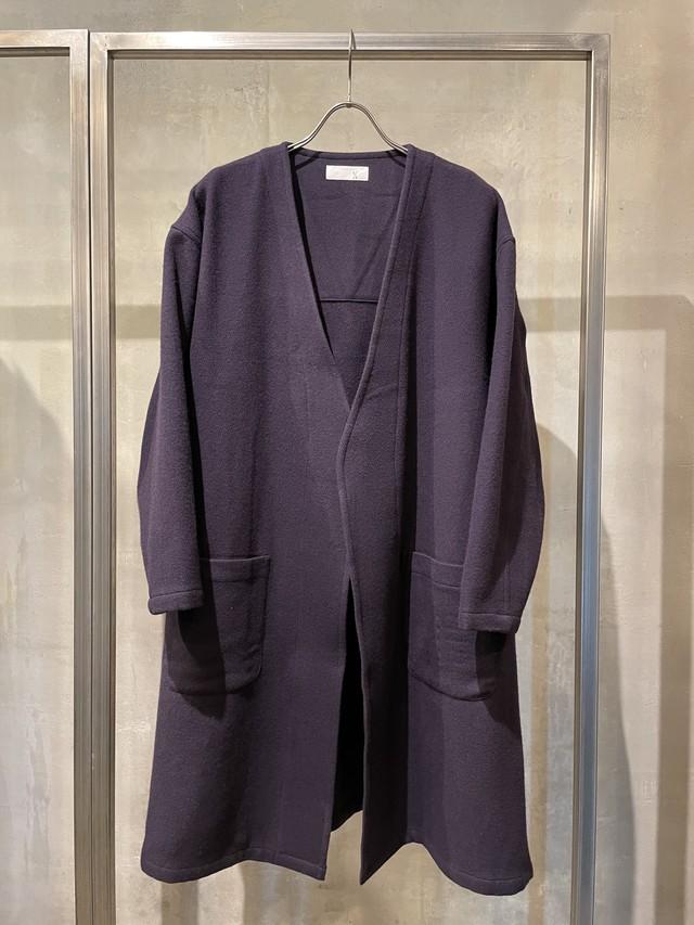 T/f Lv7 kersey melton collarless gown coat - dark berry