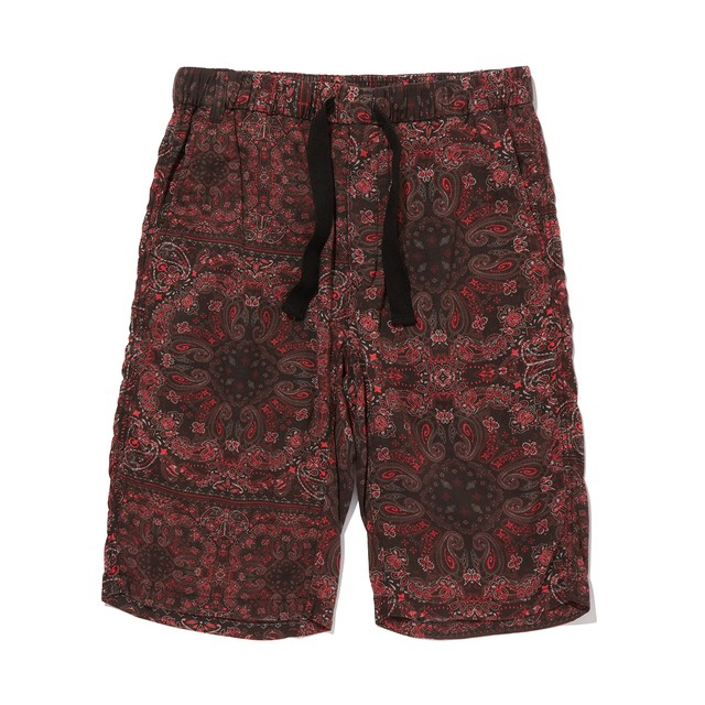 BANDANA PRINTED EASY SHORT PANTS -BLACK